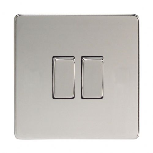 Varilight XDC71S Screwless Polished Chrome 2 Gang 10A Rocker Light Switch (1 x Intermediate 1 x 2W)